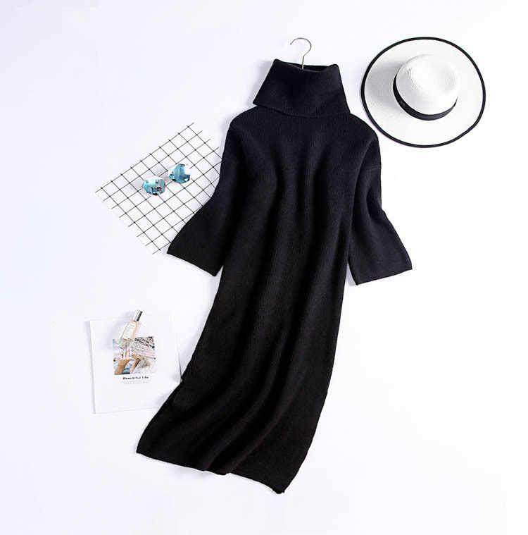 ... GTGYFF black camel turtleneck long sleeve loose oversize women pullover  knitted sweater dress for women women s ... f16e556b0