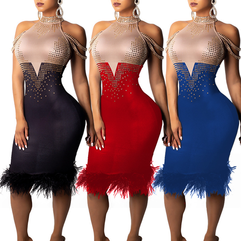 2019 summer womens Dress hot drilling sexy dress strapless Contrast color