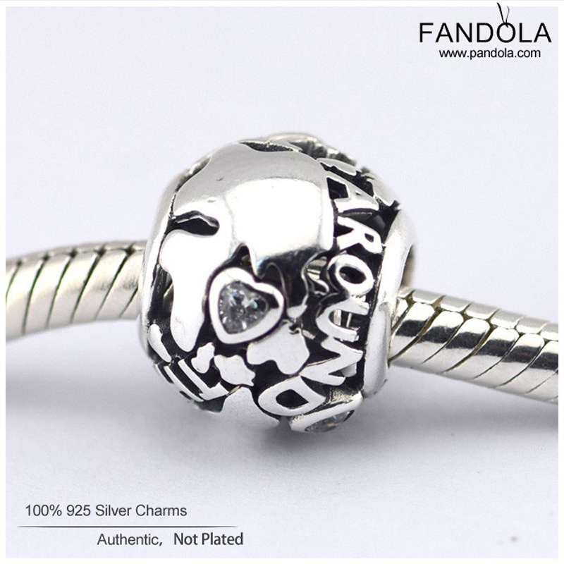 Fit Pandora Bracelet Beads for Jewelry Making All Around the World Openwork Charm Silver 925 Jewelry DIY Charms Bracelet Jewelry