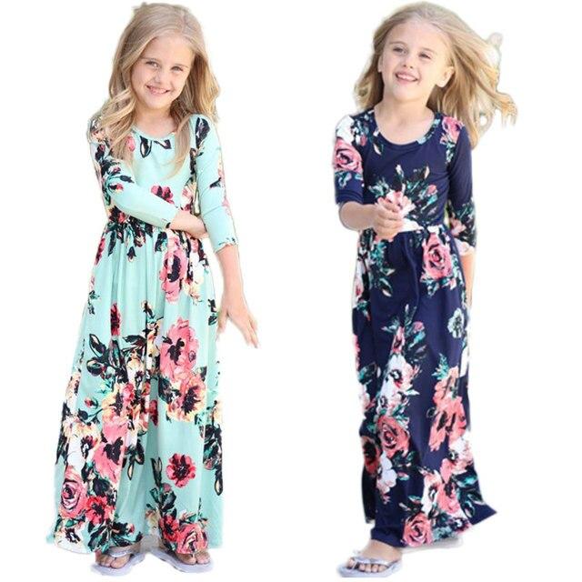 Богемный длинное платье для девочек пляжная туника платье для девочек Цветочные Детские платья детский костюм для вечеринок Одежда принцессы