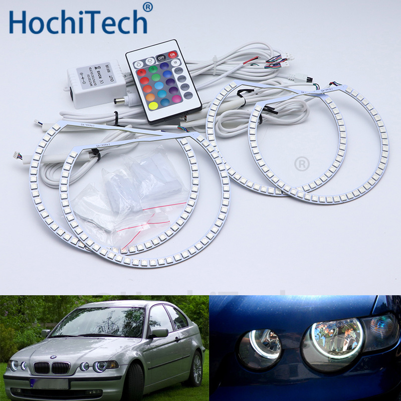 For BMW E46 3 Series Compact 2001 2005 Multi color Led Angel Eyes Kit RGB Halo Rings Daytime Running Light DRL
