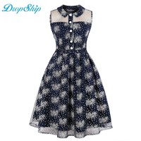 Dropship 2018 Streetwear Women Summer Vintage Print Dress Patchwork Turn Down Neck Party Pleated Novelty Tank Casual Dresses