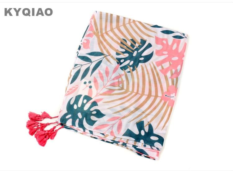 KYQIAO Christmas   scarf   2019 women autumn winter Thailand style fashion ethnic boho long pink green leaves print   scarf     wrap