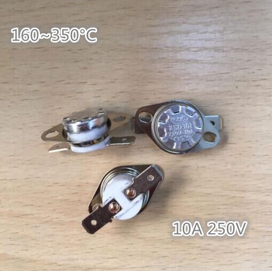 20Pcs NC Ceramic Temperature Switch Thermostat 160C-350C 165/170/175/190/220/230/250/280/300C KSD301 10A 250VAC High Temperature 10pcs ksd301 92 celsius temperature switch bimetal disc thermostat nc