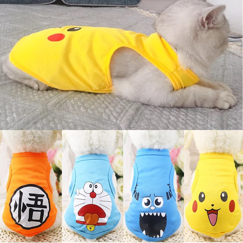 Summer Cartoon Printed Cat Clothes Cotton Soft Pet T Shirt Clothing For Small Cats Shirts Vest Outfit Pet Costume