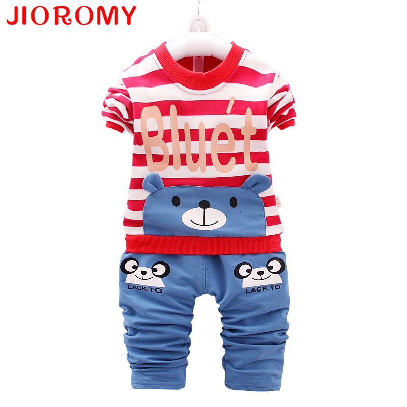 JIOROMY 2019 New children clothing Suit Striped cartoon ear top+pants 2 PCS sets Comfortable cotton For 2-5 Yrs kids k1