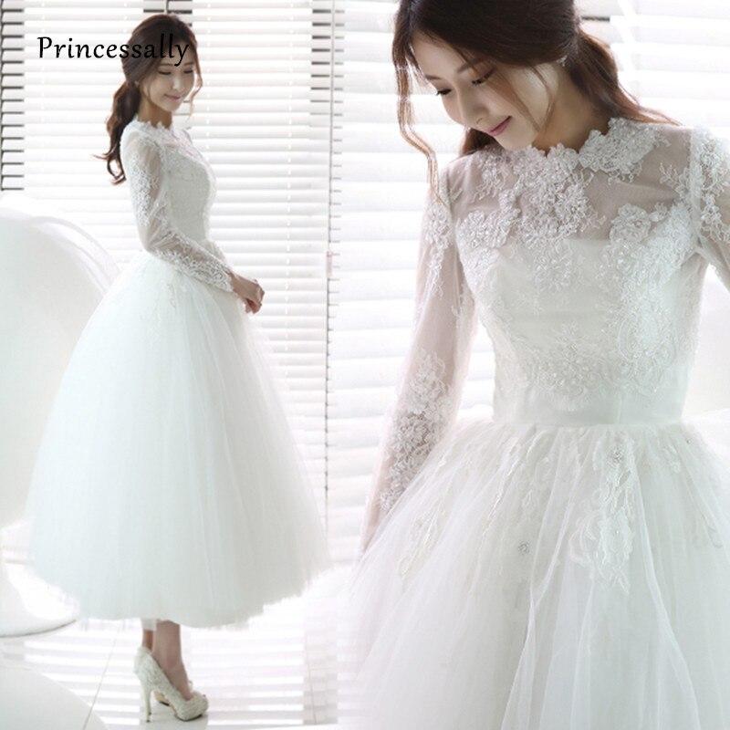 Wedding White Event: New White Wedding Dress Tea Length High Neck Full Long