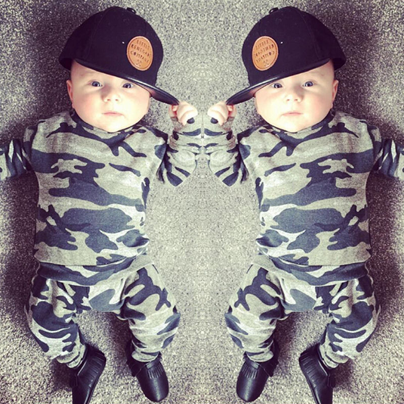 Newborn Toddler Kids Baby Boys Girls Clothing Set Outfits T-shirt Tops Long Sleeve Pants Cotton Casual 2PCS Clothes Set newborn toddler baby boy girl camo t shirt tops pants outfits set clothes 0 24m cotton casual short sleeve kids sets
