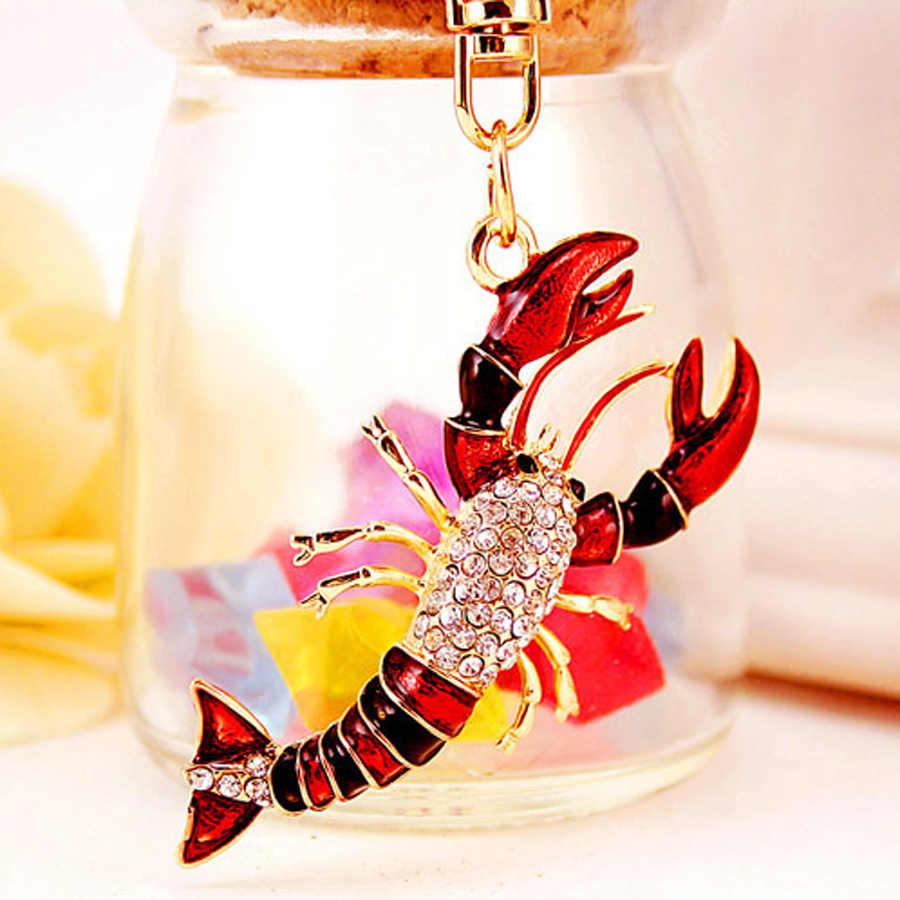Llavero creativo de diamantes de imitación de dibujos animados de Crayfish, llavero de moda, llavero, llavero para mujer, llavero, accesorios para coche, regalo R020