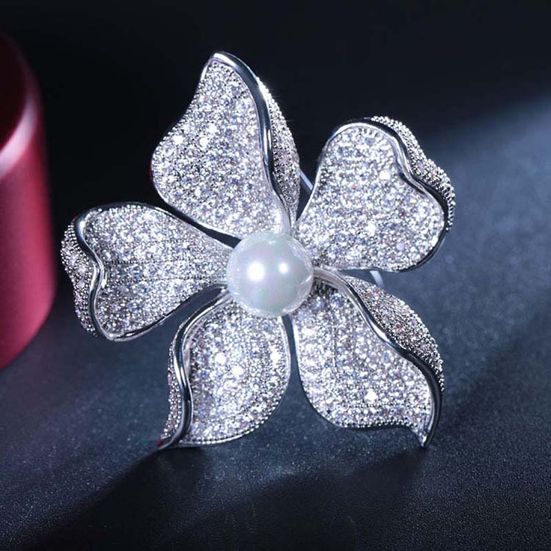 Image 5 - Red Trees High Quality Sparkly Flower Brooch For Women With Luxury Cubic Zircon And Shell Pearl Christmas Gift For Ladies-in Hair Jewelry,Brooches & Body Jewelry from Jewelry & Accessories
