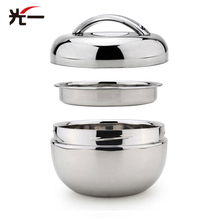 Double Layers Stainless Steel Feeding Bowl Thermal Lovely Apple Appearance Baby Food Children Food Bowls 0.8L