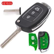 Keyecu Флип складной 3 кнопки дистанционного Ключи FOB 433 мГц id70 чип для Hyundai ix25 TOY40 лезвие режиссерский