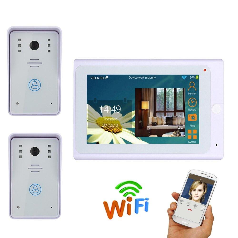 720P 2 X 1000TVL IR-CUT HD Wired Camera With 7 TFT Wireless Wifi IP Video Door Phone Doorbell Intercom  System