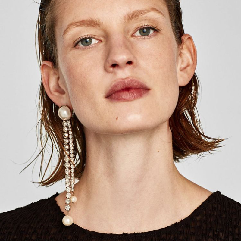 JURAN Fashion New Luxury Gold Silver Color Simulated Pearls Earring Women Elegant Dangle Jewelry Long Chain Drop Earrings