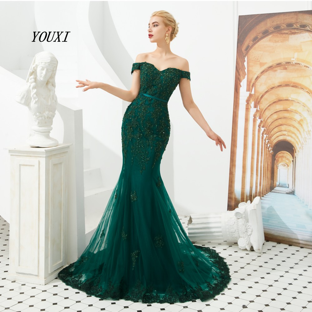 Green Mermaid Evening Dresses 2019 Long Lace Appliques Beaded Sequin Off Shoulder V Neck Zipper Prom Gowns