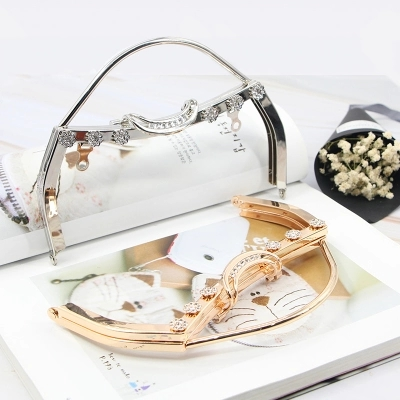One Piece 18 cm Silver Gold Crystal On Surface Metal Bag Handle Purse Frame Coin Sewing With Screws Frame Purse Frame Bag Handle