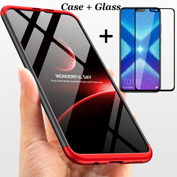 3-in-1 360 Tempered Glass + Case For Huawei Honor 8X Back Cover