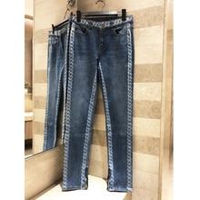 Pantalones con estampado de patrón de cadena con cremallera vaqueros adelgazantes delgados para mujer 2019 pantalones casuales de lavado de alta calidad pantalones de pies largos
