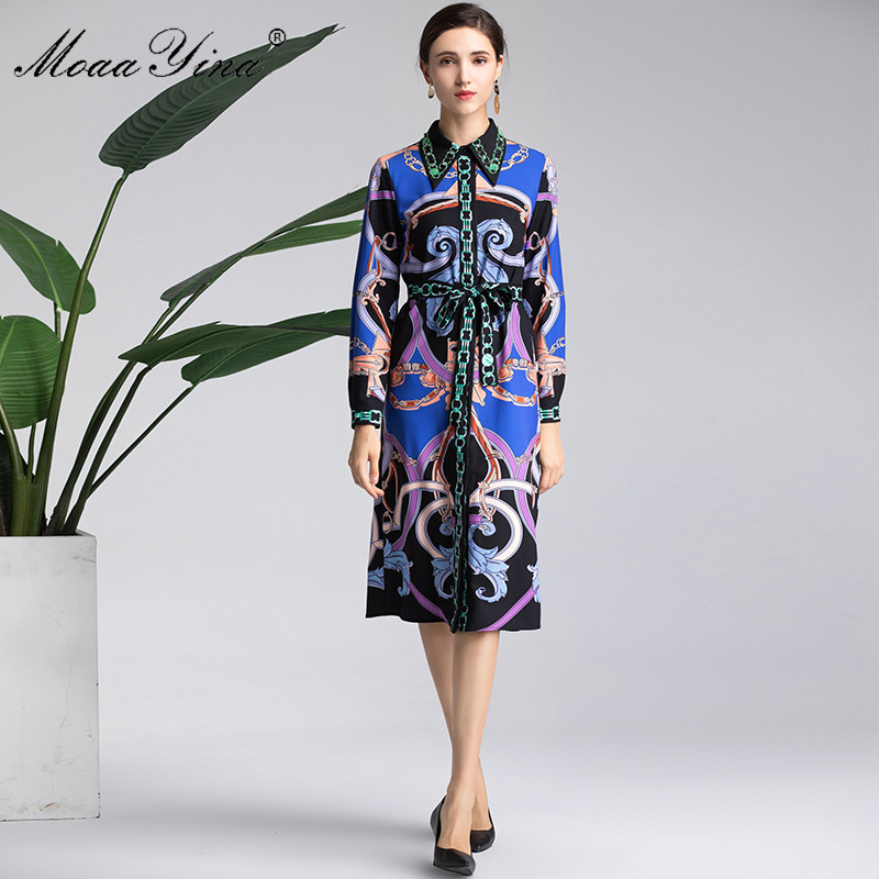 Ceintures Manches Robe Bleu Piste Printemps Imprimer Bande Perles Femmes Designer down Vintage Turn Longues À Fashion Moaayina Col TxROnWFx