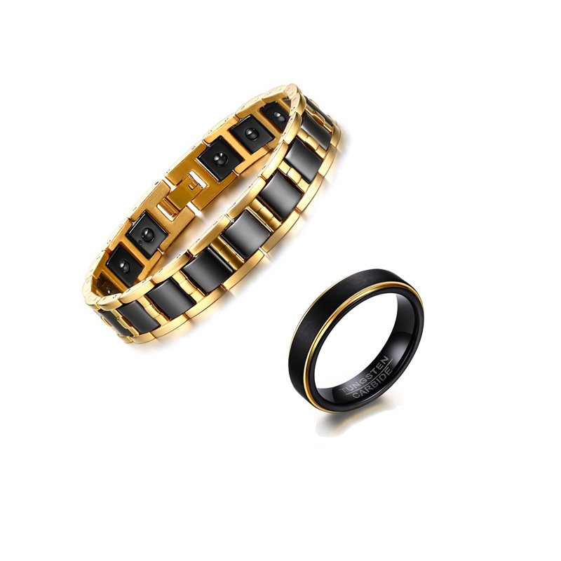 Mprainbow Jewelry-Set Magnetic-Bracelets Stainless-Steel Tungsten Rings Fashion Black