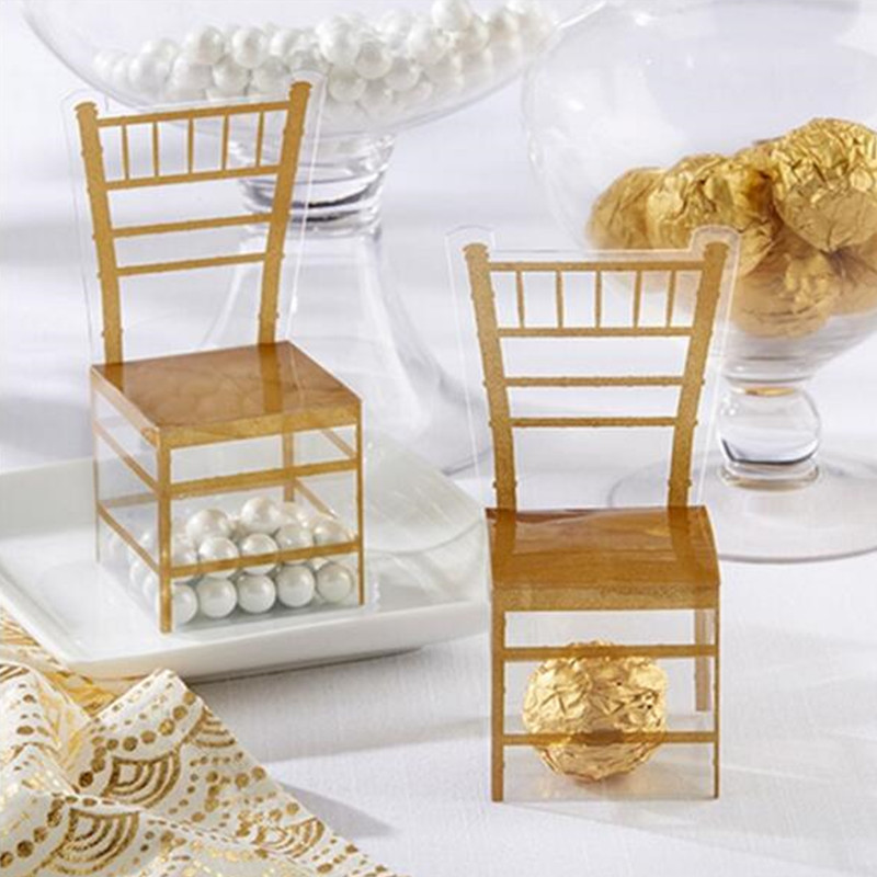 Gold New Stye Party Favor Chair Shape Favor Boxes Plastic Boxes PVC Boxes Clear Candy Boxes For Party 50pcs
