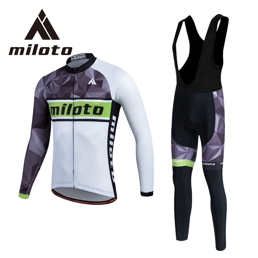 ФОТО MILOTO Men Winter Cycling Clothing Black White Cycling Jersey Gel Pads Breathable Ropa Ciclismo MTB Road Bike Clothing Jersey
