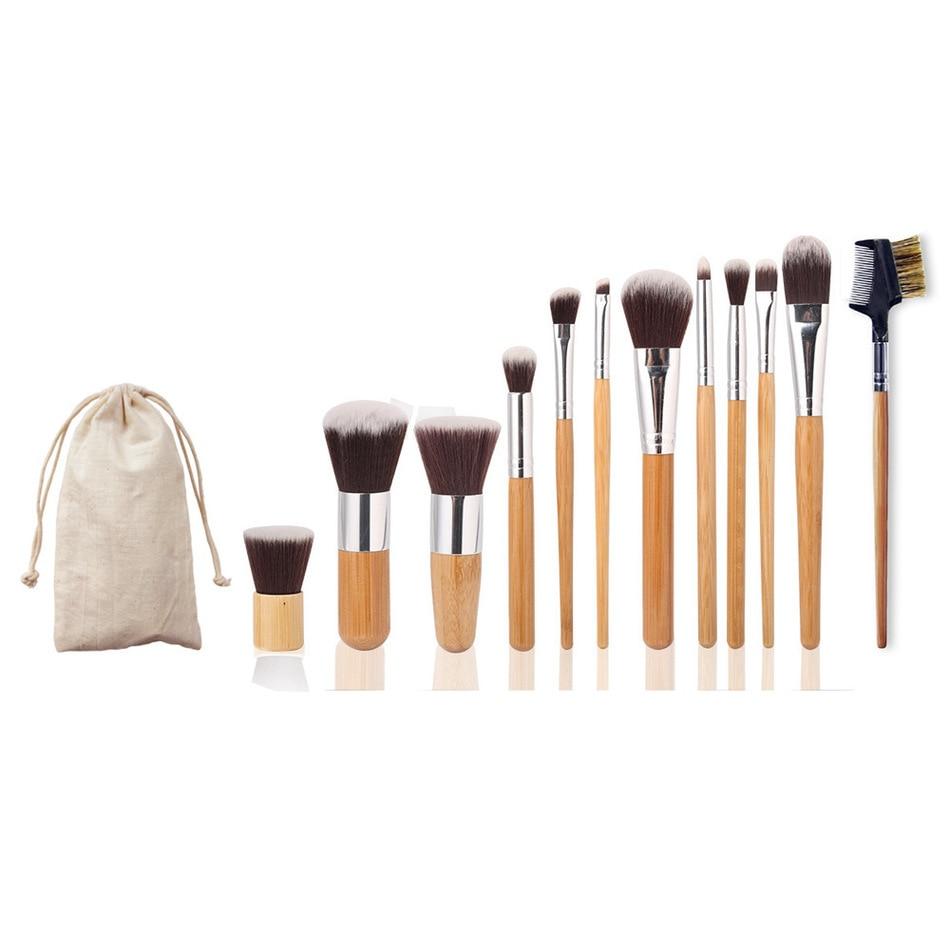 hot 11Pcs MakeupBrushes Cosmetics Tools Natural Bamboo Handle Eyeshadow Cosmetic Makeup Brush Set Blush Soft Kit pincel maquiage
