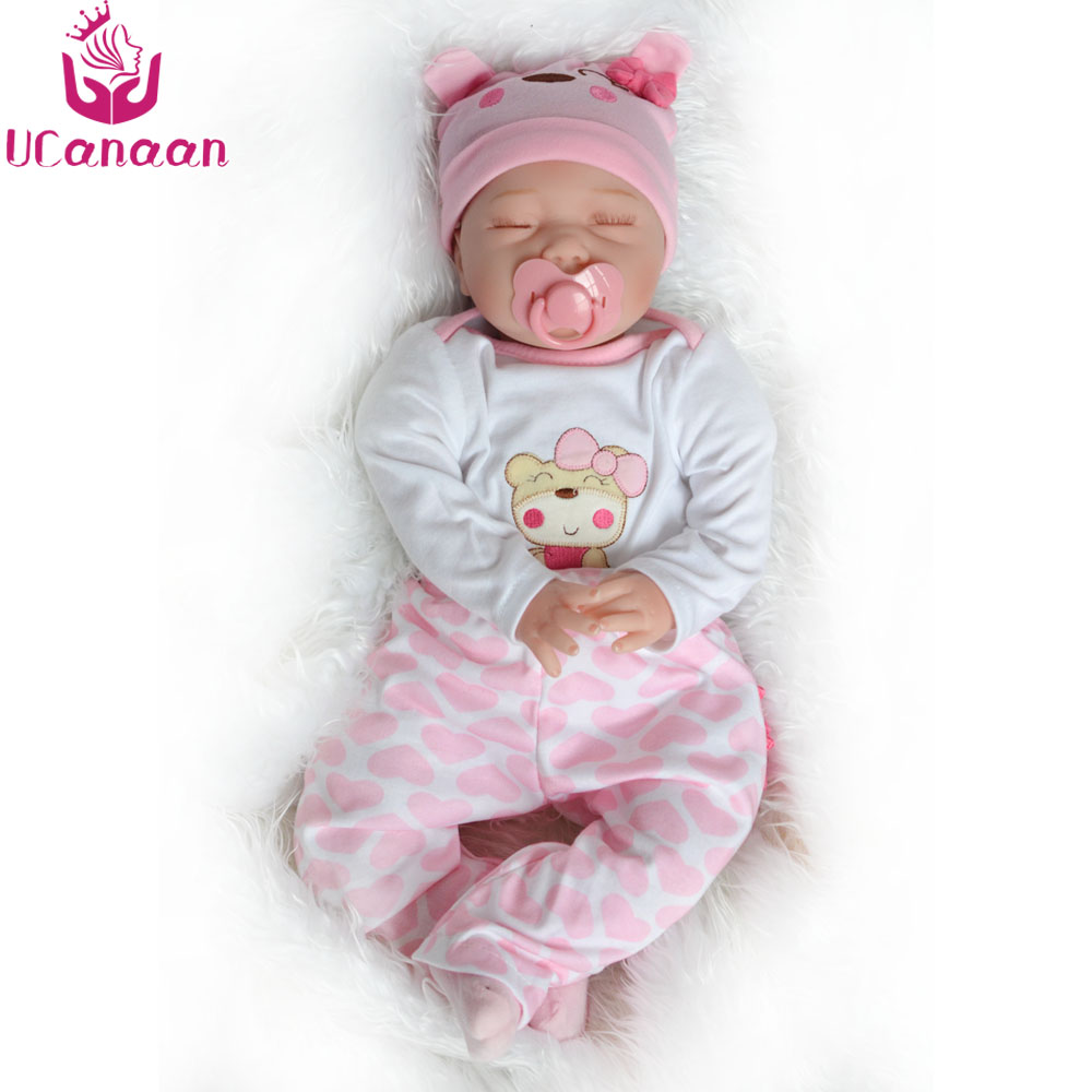 UCanaan Soft 22'' Silicone Reborn Baby Doll 55cm Girls Cloth Body Toys Sleeping Babies Growth Partners Brinquedos Child Bonecas ucanaan reborn baby dolls realistic soft cloth body handmade lifelike reborn babies doll toys baby sleeping partners 50 55cm