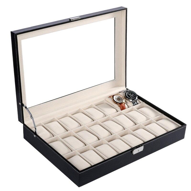Fanala 24 rejilla/20 rejilla/10 rejilla enrollador de reloj pu reloj caja de presentación boite montre con vidrio ventana superior para la muñeca Relojes