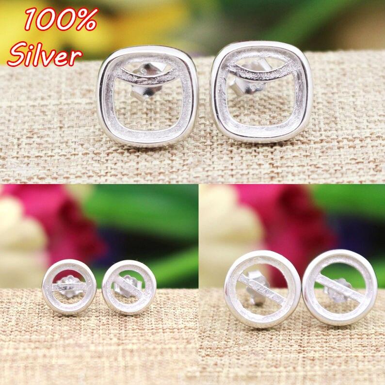 100% Sterling-Silver-Jewelry Stud Earrings Empty Pallet Blank Fit 9mm7.5mm Base Tray for Diy Style Earrings
