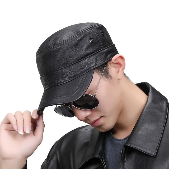 Moda Hombres Snapback Ajustable Gorra de Béisbol de piel de Oveja Con Dos Respiradero Deportes Gorra De Cuero Negro Genuino de la Alta Calidad Para Adultos