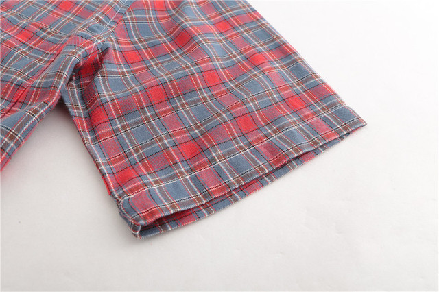 Dioufond Men Vintage Red Plaid Short Shirts Casual Cotton Basic Male Tops Pocket Work Wear Summer Mens Fashion Clothing 2018 3XL 4