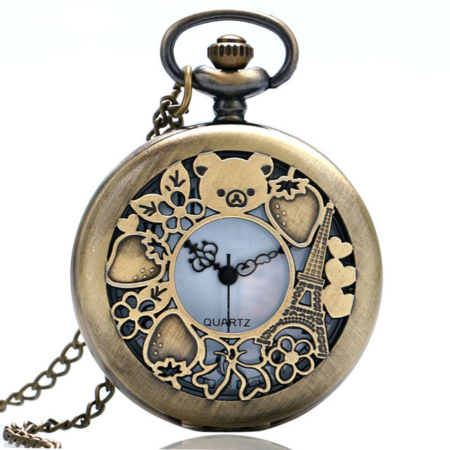 Vintage Bronze Copper Cute Rialkkuma Cubs Cartoon Bear Pocket Watch Clock Hour Necklace For Kids Watch Time Christmas Perfect Gifts