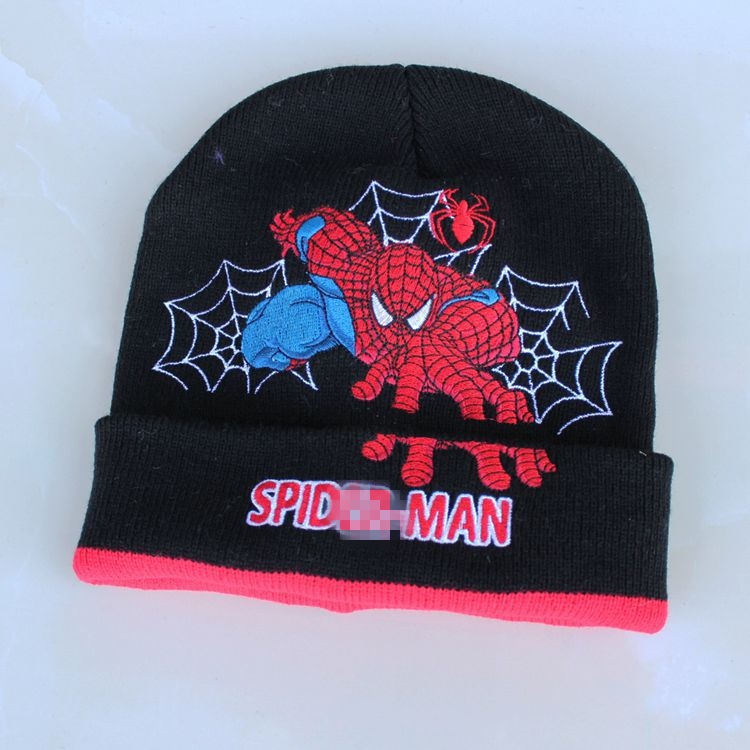 Cartoon Super Hero Spider man Hat Knitting Cotton Wool Beanies Plush Winter  Warm Ear protection cap Kid Embroidered folding Hats-in Skullies   Beanies  from ... 7a960498b10