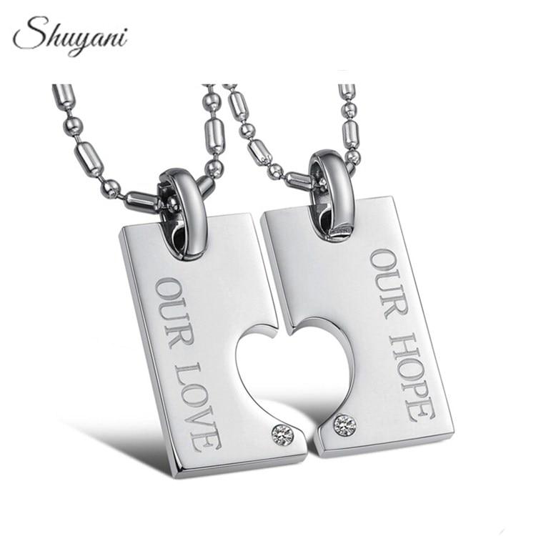 Lover пары Best друг подарок горный хрусталь Подвески Нержавеющаясталь надежду, любовь, сердце Ожерелья и подвески Модные украшения