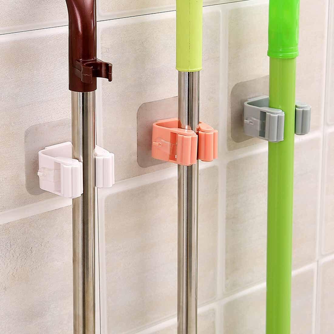 1pcs Mop Holder Kitchen Organizer Garden Storage Wall Mounted  Brush Broom Hanger Storage Rack Cleaning Tools On Walls