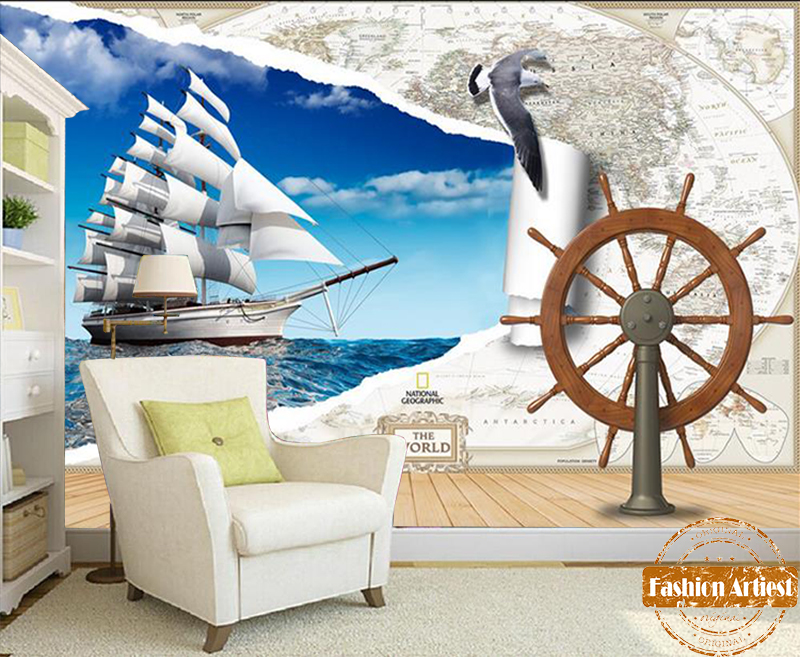 Custom Any Size Mural Wallpaper 3d Sea View Sailing Boat Landscape Wall Painting Mural Living Room Tv Sofa Background Wall Paper 100% Guarantee Painting Supplies & Wall Treatments
