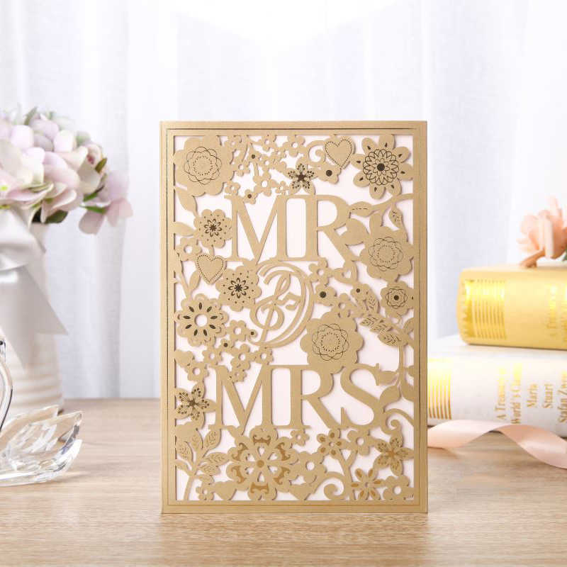 1pcs Gold Laser Cut Wedding Invitations Card MR&MRS Elegant Greeting Cards Personalise Envelopes Wedding Event Party Decoration