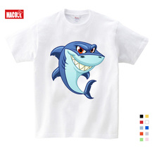 girls baby clothes for summer Cartoon Print Shark Tee Tops For Boy Girls Clothing Children Funny T-shirt 3T-9T Kids T Shirt