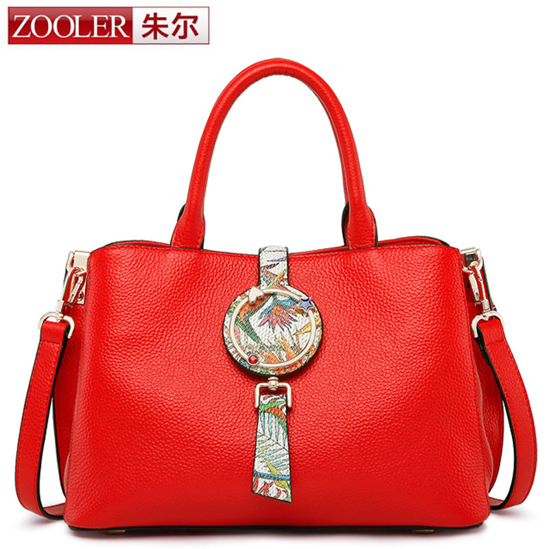 ZOOLER Women's Designer Handbags Brand Genuine Leather Shoulder Boston Bag Chinese Style Red Female Tote Bag bolsas femininas 4 in 1 composite bag female lolita style zipper leather cute bear pendant designer brand handbags for women bolsas de couro 49