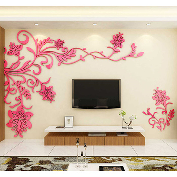 European Style 3D Flower Tree Wall Sticker Living Room Decorative Decals Home Art Decor Poster Solid Acrylic Wallpaper Stickers 13