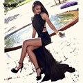 Sexy Preto Sereia Vestidos de Baile Longo Vestido de Noite da Cabeçada de Seda Stain Lace Besds Backless Dividir Tribunal Trem Vestido De Festa
