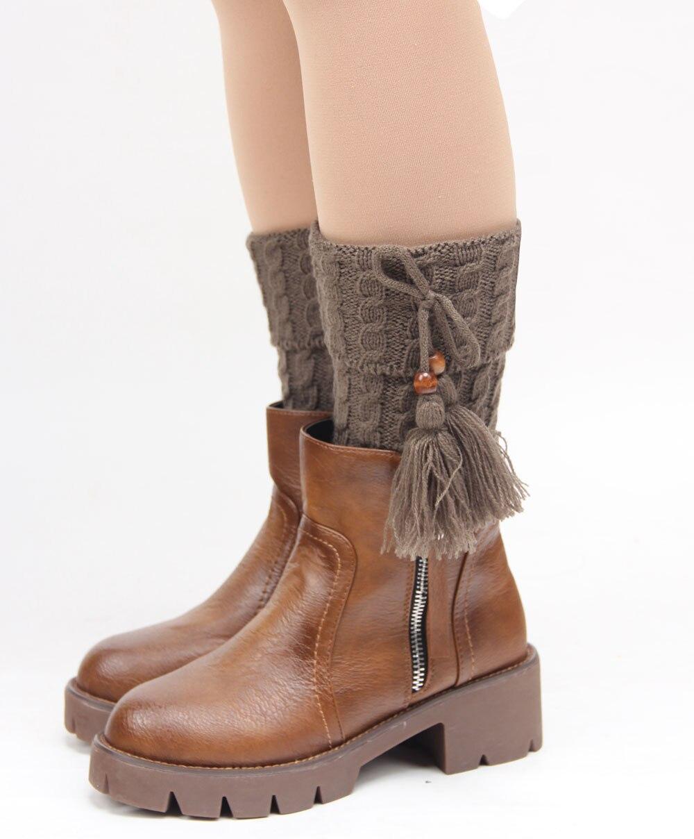 2015 New Design Women Lady Girls Winter Autumn Soft Warm Tassel Bow Knitted Crochet Leg Warmers Socks Boot Cover Boot Knee Socks