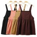 4 Mujeres de Primavera y Verano Harajuku de Color Trajes Vestidos Escuela Kawaii Lindo Estilo de la Correa de Cintura Alta Solid Casual Una Línea de Vestido