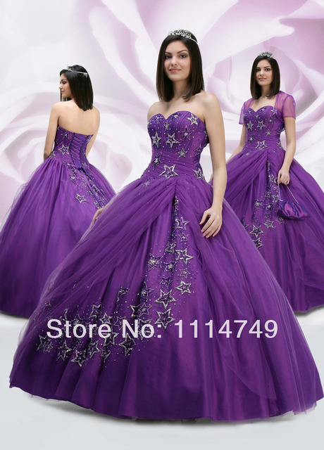 d38bfc6556 Appliques Beaded Organza Ball Gown Sweetheart Royal Purple Quinceanera Dress  with Jacket Fashion 2014 Free Shipping LQ248