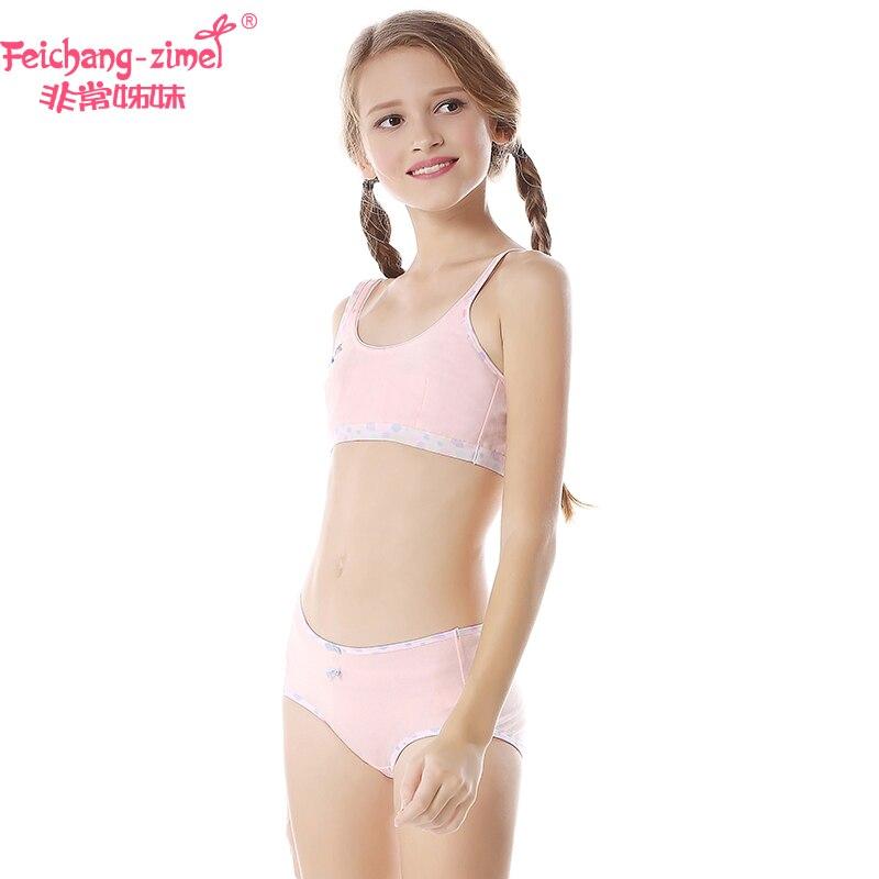 907d62548fe4f New Arrival Feichangzimei Teen Girl Underwear Set Cotton White Green Pink  Training Bras Set