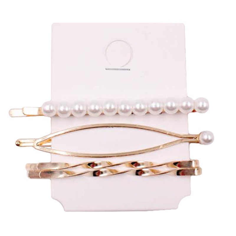 4PCS/Set Women Fashion Pearl Hair Clip Hairband Comb Bobby Pin Barrette Hairpin Headdress Hair Clip Styling Tools Accessories