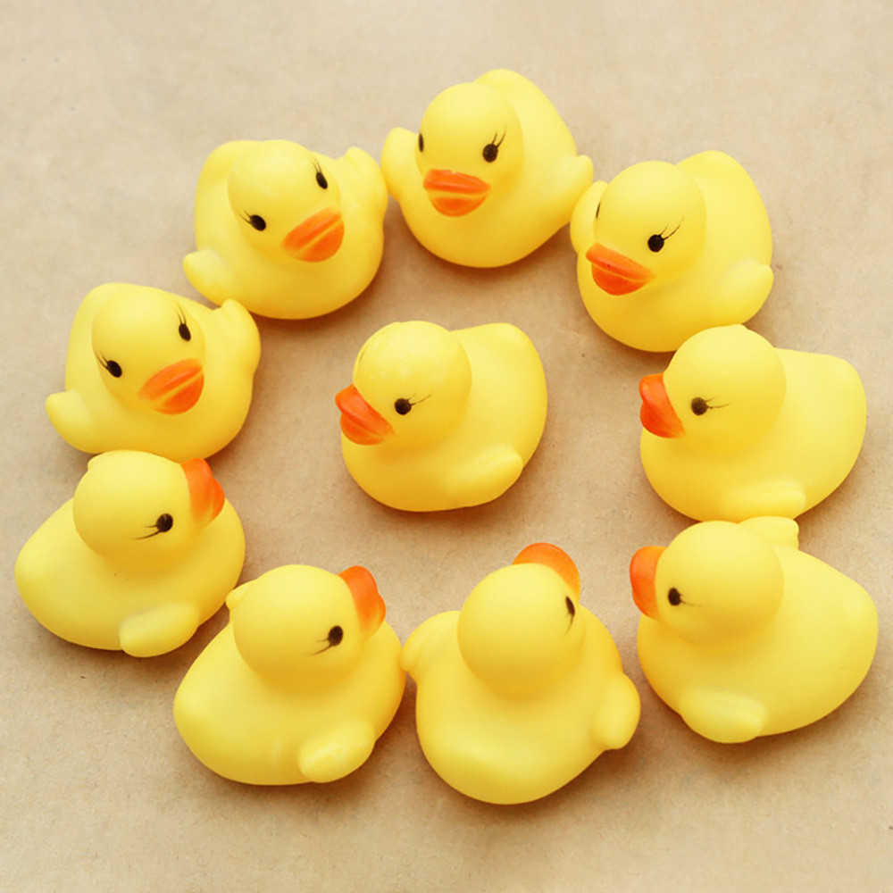 10pcs/lot Small Baby Kids Squeaky Rubber Ducks Bath Toys Bathe Room Water Fun Game Playing Newborn Boys Girls Toys For Children