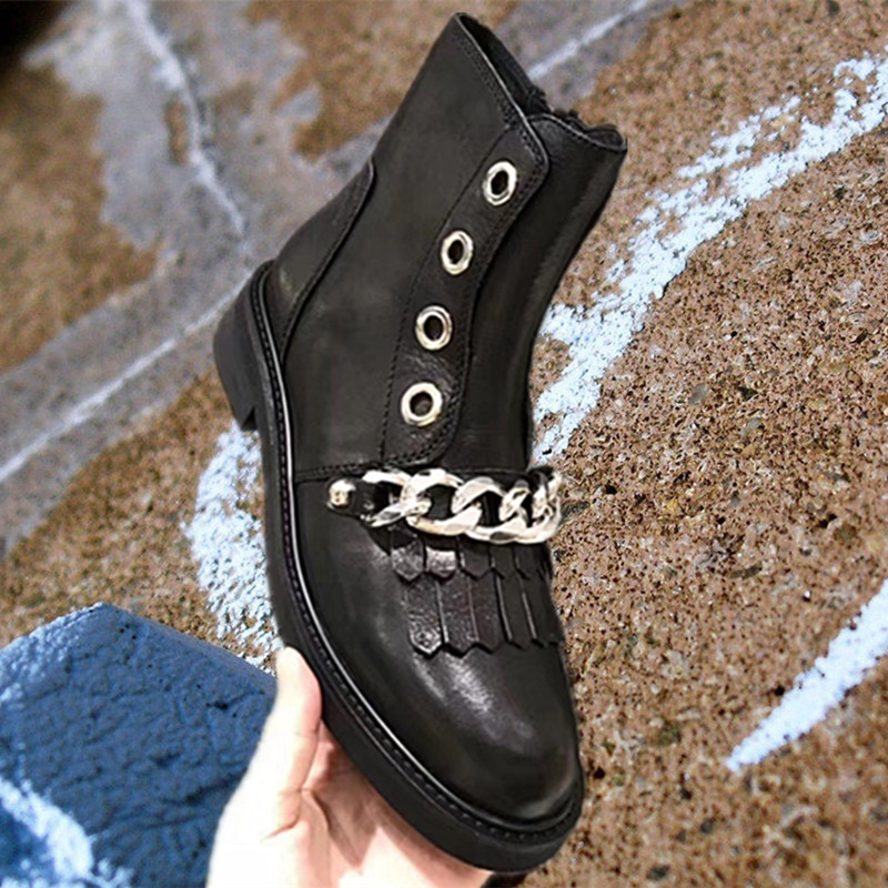 Metal Chain Decor Knight Boots Leather Short Booties Side Zipper Ankle Boots Tassel Embellished Women Shoes Chic Low Heel Trendy chic metal bar embellished full frame sunglasses for women