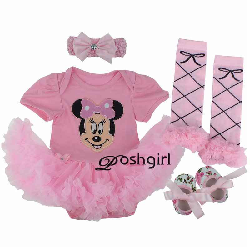 Baby Girl Clothes Newborn Baby Romper Minnie Mouse Tutu dress+headband+shoes+leggings 4pcs/set Outfits Baby Girls Clothing Set birthday cake